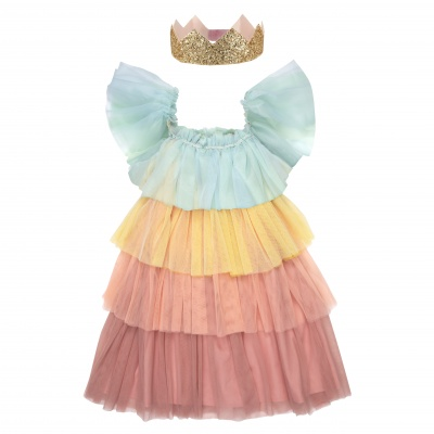 Rainbow ruffle princess dress-up