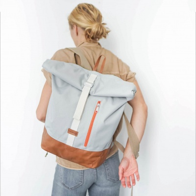 Rolltop Backpack ALBERT 2 Lightgrey Cognac Leather