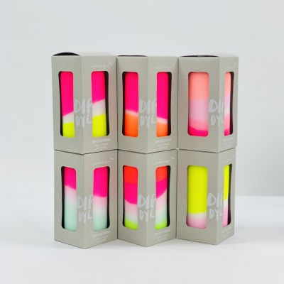 Dip Dye Neon Pillar Candles