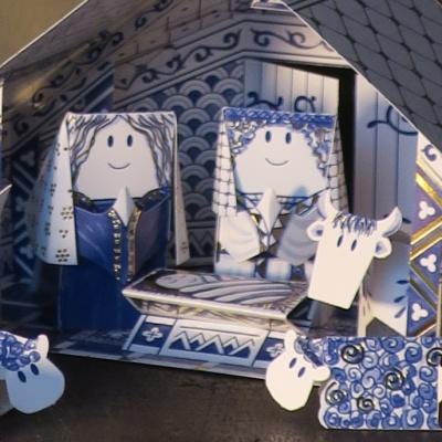 Delftsblauwe kerststal