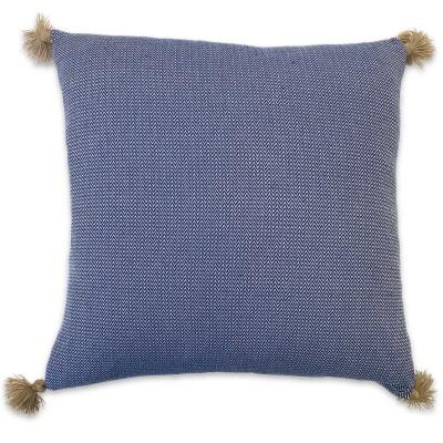 Cushion Pompons Blue 55x55cm
