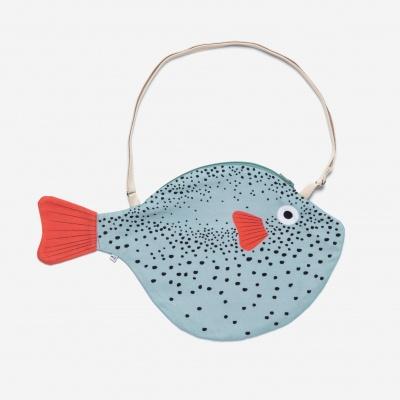 Big aqua pufferfish bag