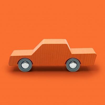 Wooden Toy Car - Back & Forth Orange