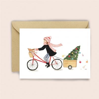 Xmas-Bike-Girl Greeting Card