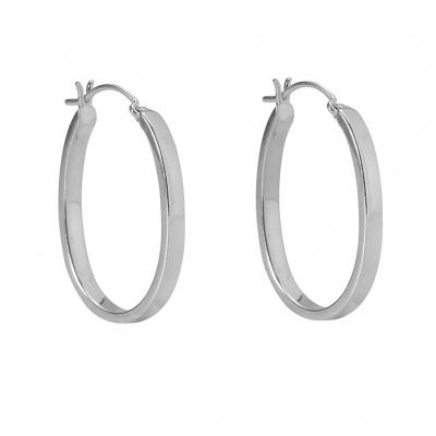 Oval hoop oorbel silver