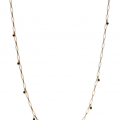 Tiny onyx necklace gold-plated