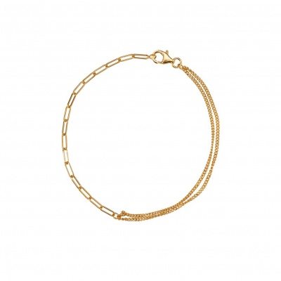 Double chain armband gold-plated